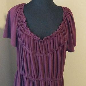 Avenue 22/24 Purple/Maroon Short Sleeve Dress